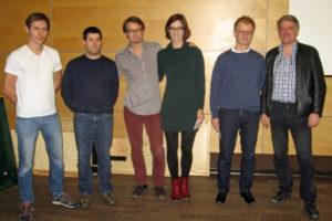 Die Sieger der 2. Paar-BL: v.l. Daniel Buse - Christian Löwenstein (3. Platz), Paul Grünke - Katharina Brinck (1. Platz), Wolf Stahl - Fred Wrobel (2. Platz)